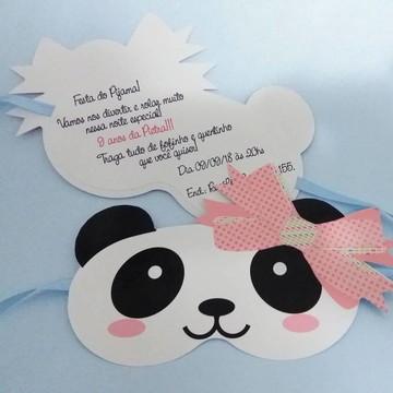 Panda Convite máscara de dormir festa do Pijama Panda