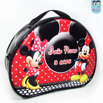 Maletinha Oval tema Mickey e Minnie
