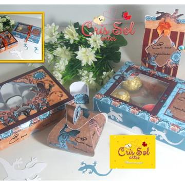 Kit 4 caixas Eu amo lagartixas - arquivo silhouette