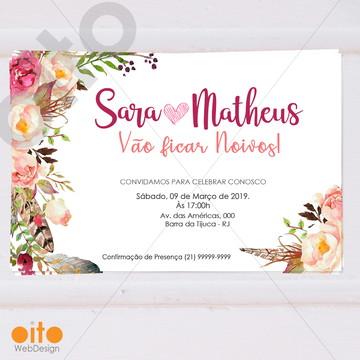 Convite Digital Noivado Floral