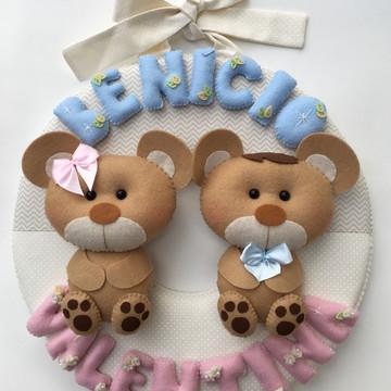 Porta Maternidade Ursinhos Gêmeos