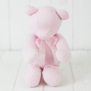 Urso Listrado em Rosa e Branco I Coleção Escandinava