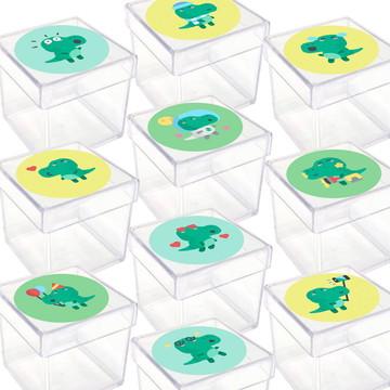 Caixinha Acrílica Lembrancinha Festa Bebê Dinossauro 20 unid