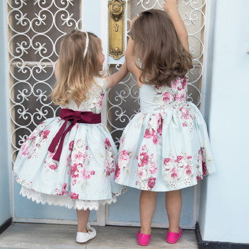 Vestido Floral Festa e Daminha com renda Guipir