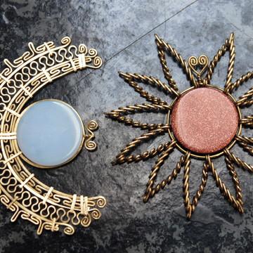 Conjunto de Pingente Sol e Lua