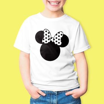 Camiseta Infantil Desenho Minnie Mouse 100% Algodão