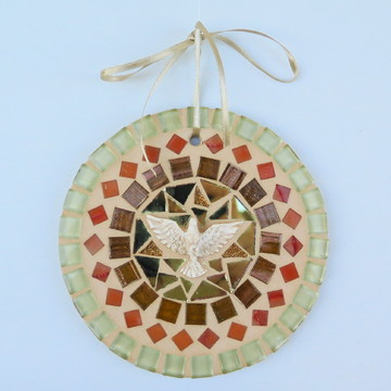 Mandala Divino em mosaico mini ocre