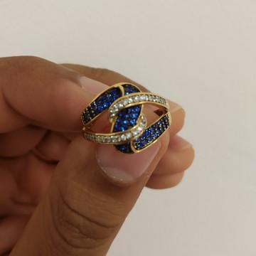 c291337146639 Anel Cravejado de Zirconia Azul e Branca Folheado a Ouro