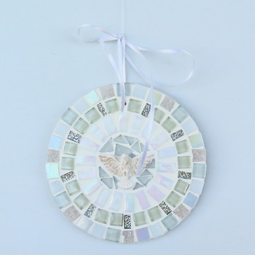 Mandala Divino em mosaico mini branca