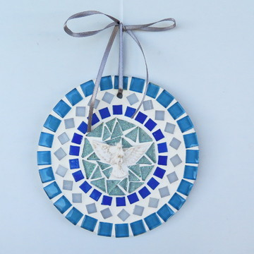 Mandala Divino em mosaico mini azul