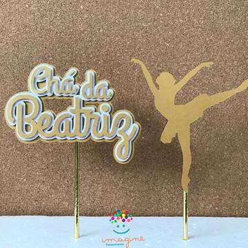 Topper de Bolo Bailarina Dourada