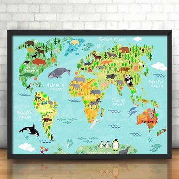 Quadro Mapa Mundi Animalis