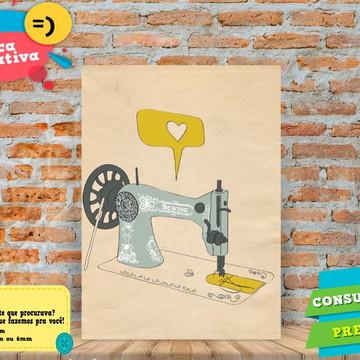 Placa Decorativa-COSTURANDO AMOR -REF0553