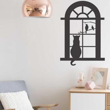 Adesivo criativo Gato na Janela