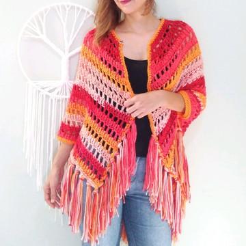 Xale de Crochê vermelho