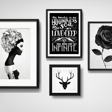 4 Quadros Wall Love Hipster Preto Branco Frase Decoração