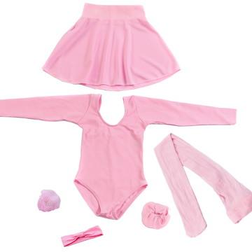 86d6e19fe8 Roupa De Ballet Infantil Completo Manga Longa