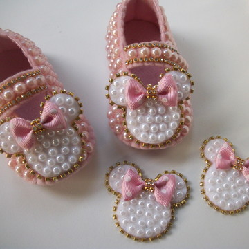 Sapatinho da Minnie bebe com 2 presilhas - Festa da Minnie.