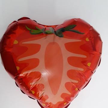 """Balão de Coração Morango Metalizado 45 cm 18"""""""