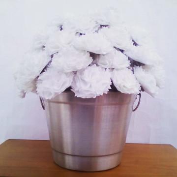 Flores de Feltro - 50 Cravos Brancos