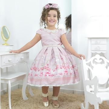 Vestido infantil rosê rosa seco, pássaros e bordados