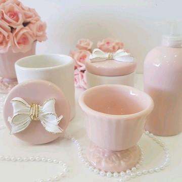 Kit Higiene porcelana laço Rosa Seco