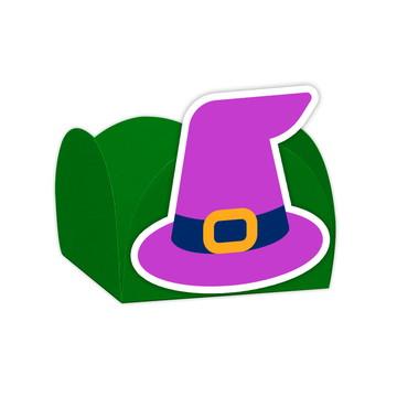 Forminha Festa Halloween Chapéu Bruxa Verde - 24 Unidades