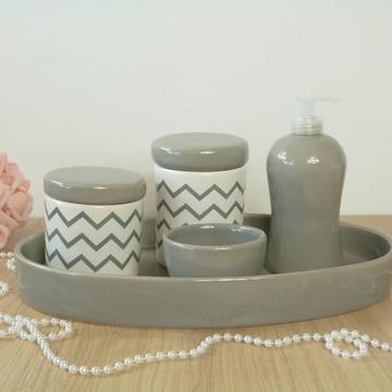 Kit Higiene Bebe Porcelana Chevrom Cinza