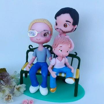 Topo de bolo personalizado família