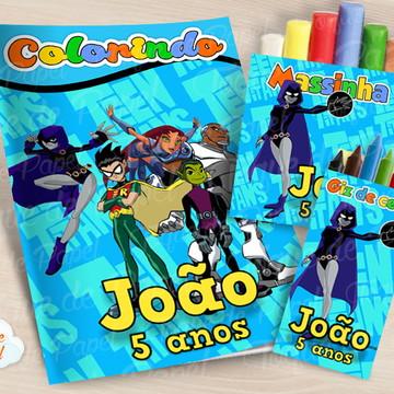 Kit colorir giz massinha Os Jovens Titãs