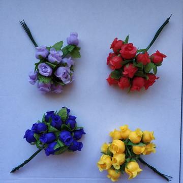 144 Mini Botão Rosa Tecido Rosinha Artificial Flor Lembrança