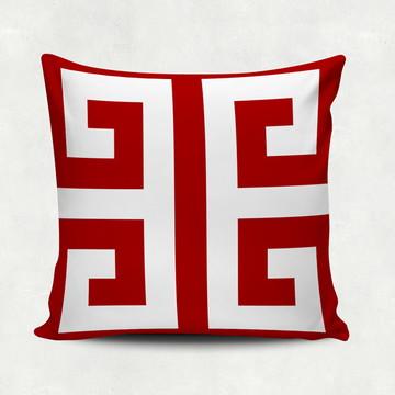 Capa Para Almofada Vermelho e Branco 40x40cm
