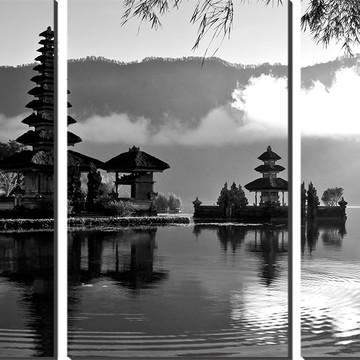 Kit Quadro Decorativo Construção Asiática Preto E Branco
