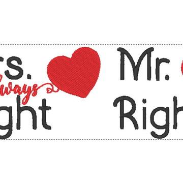 Matriz de bordado Casamento - Mrs Right