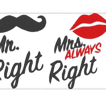 Matriz de bordado Casamento - Mrs Right 2