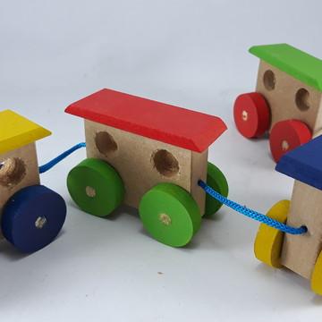 Trenzinho Trem Brinquedo Em Madeira Brinquedoteca Pedagógico