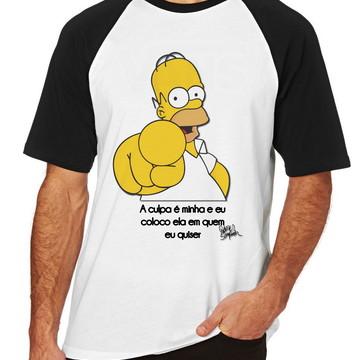 Camiseta Raglan Blusa Homer Simpsons a culpa é minha coloco