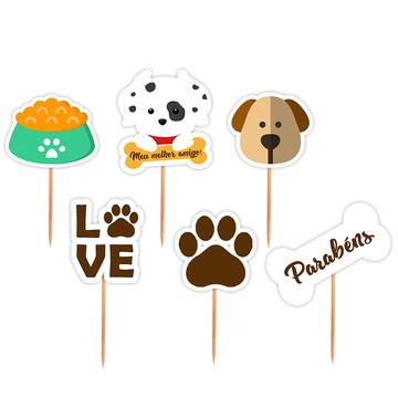Pick Aniversario Festa Cachorrinhos Sortido - 24 Unid