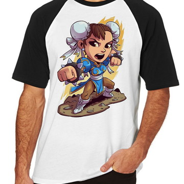 Camiseta Raglan Blusa chun li Street Figther Jogo Game Luta