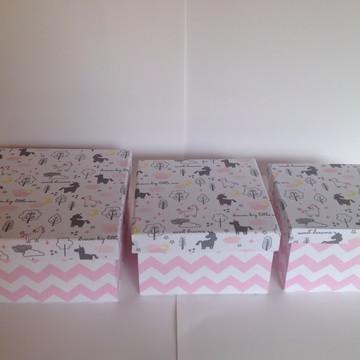 Trio de caixas cinza e rosa Mundo dos sonhos