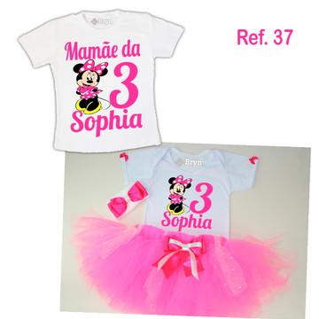 Kit Fantasia Tutu Minnie Rosa Pink + 1 Camiseta