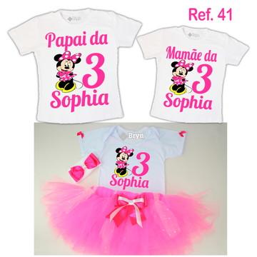 Kit Fantasia Tutu Minnie Rosa Pink + 2 Camisetas