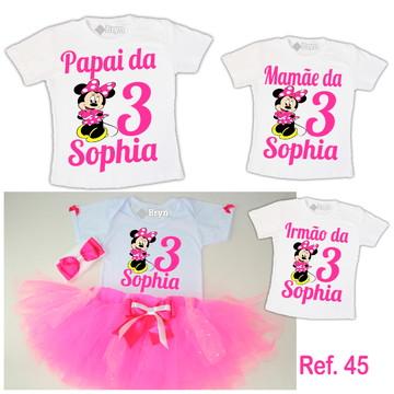 Kit Fantasia Tutu Minnie Rosa Pink + 3 Camisetas