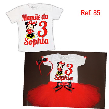 Kit Fantasia Tutu Minnie Vermelha + 1 Camiseta