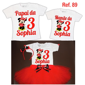 Kit Fantasia Tutu Minnie Vermelha + 2 Camisetas