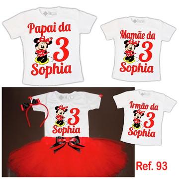 Kit Fantasia Tutu Minnie Vermelha + 3 Camisetas