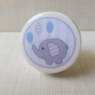 Puxador estilo Porcelana elefante cinza