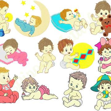 12 Matrizes De Bordados infantil Lindos Bebês
