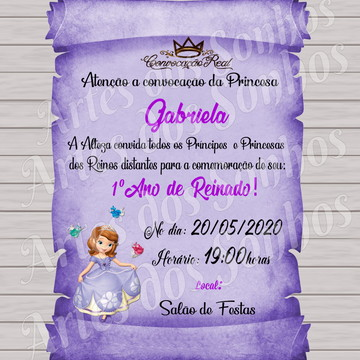 Convite Pergaminho Sofia cor lilás
