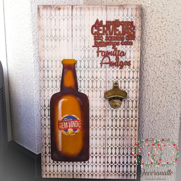 Placa Rústica com Abridor *As Melhores Cervejas*